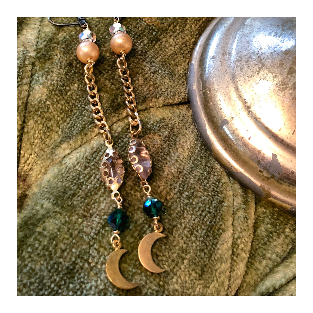 """Stardust"" Vintage Moons  & Rhinestone Charm Earrings"