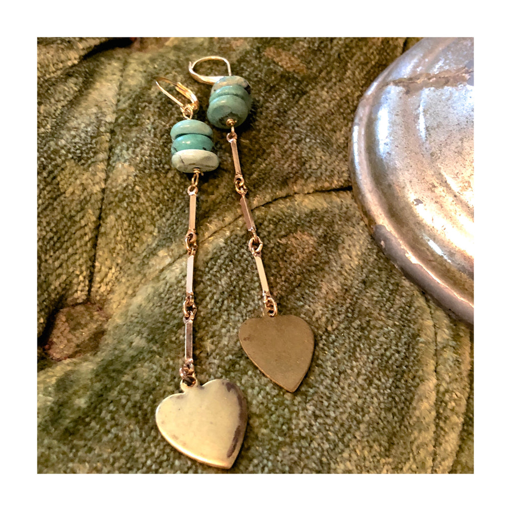 """Stardust"" Turquoise & Heart Charm Earrings"