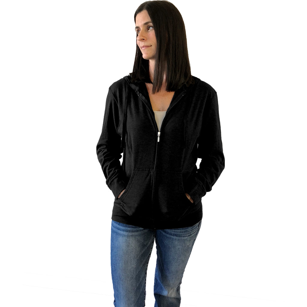 Black Hoodie Jacket for mastectomy surgery