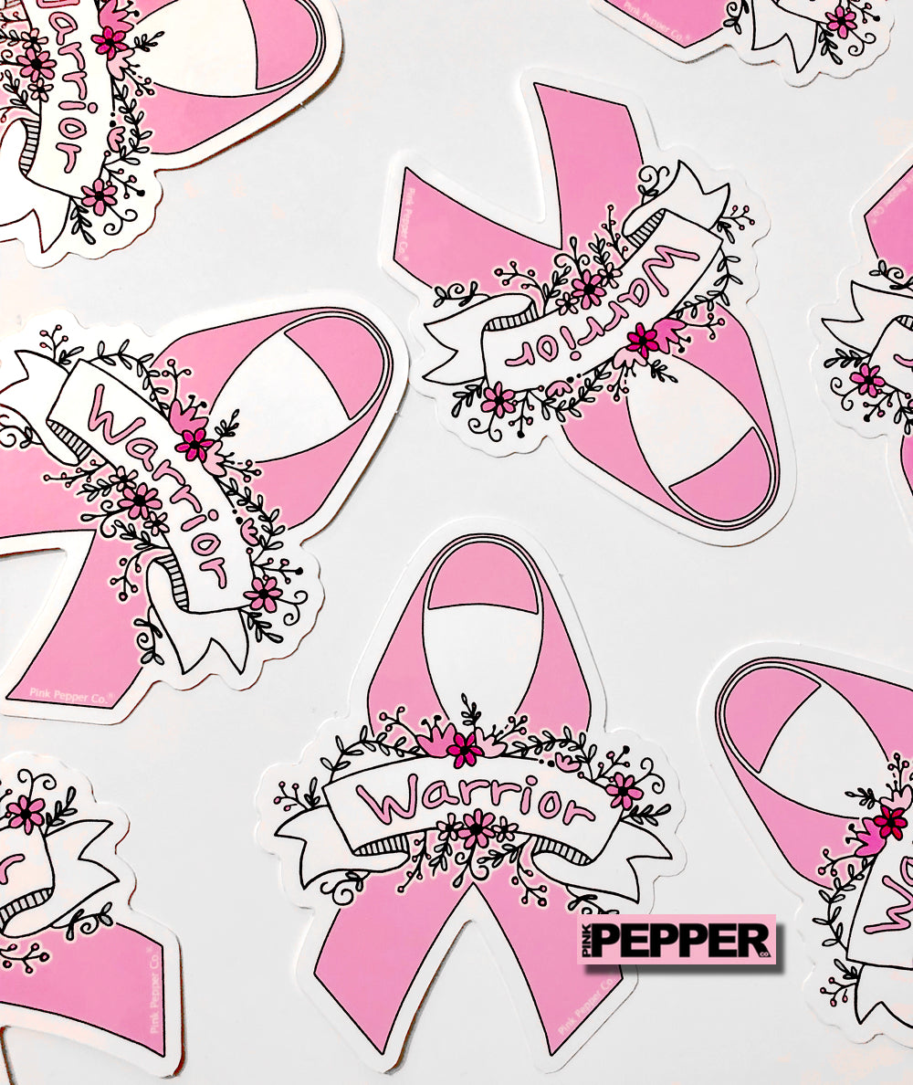 Pink Ribbon Stickers Breast Cancer Awareness Pink Pepper Co