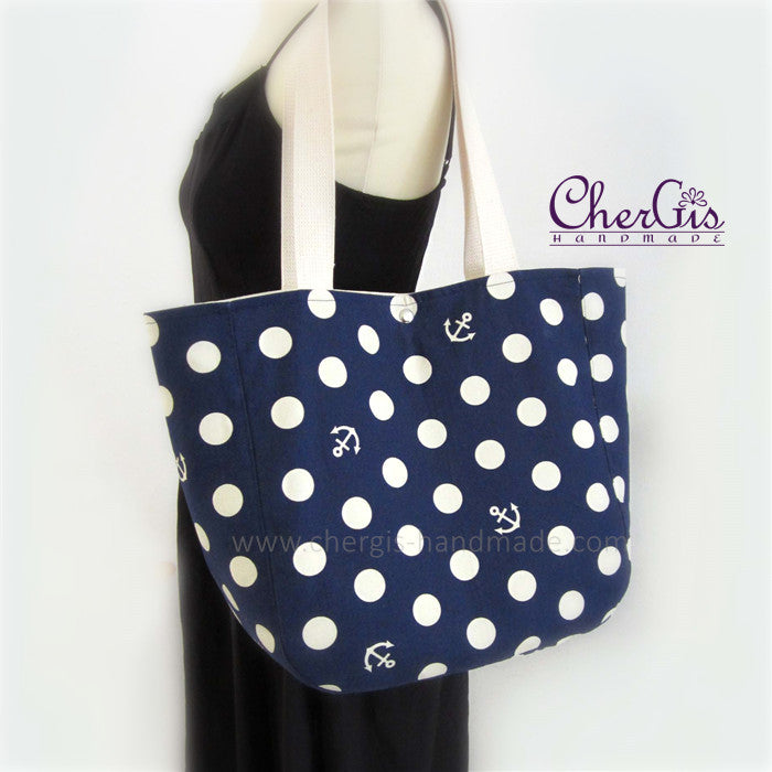 Shoulder Tote Bag - Anchor - Marine feel