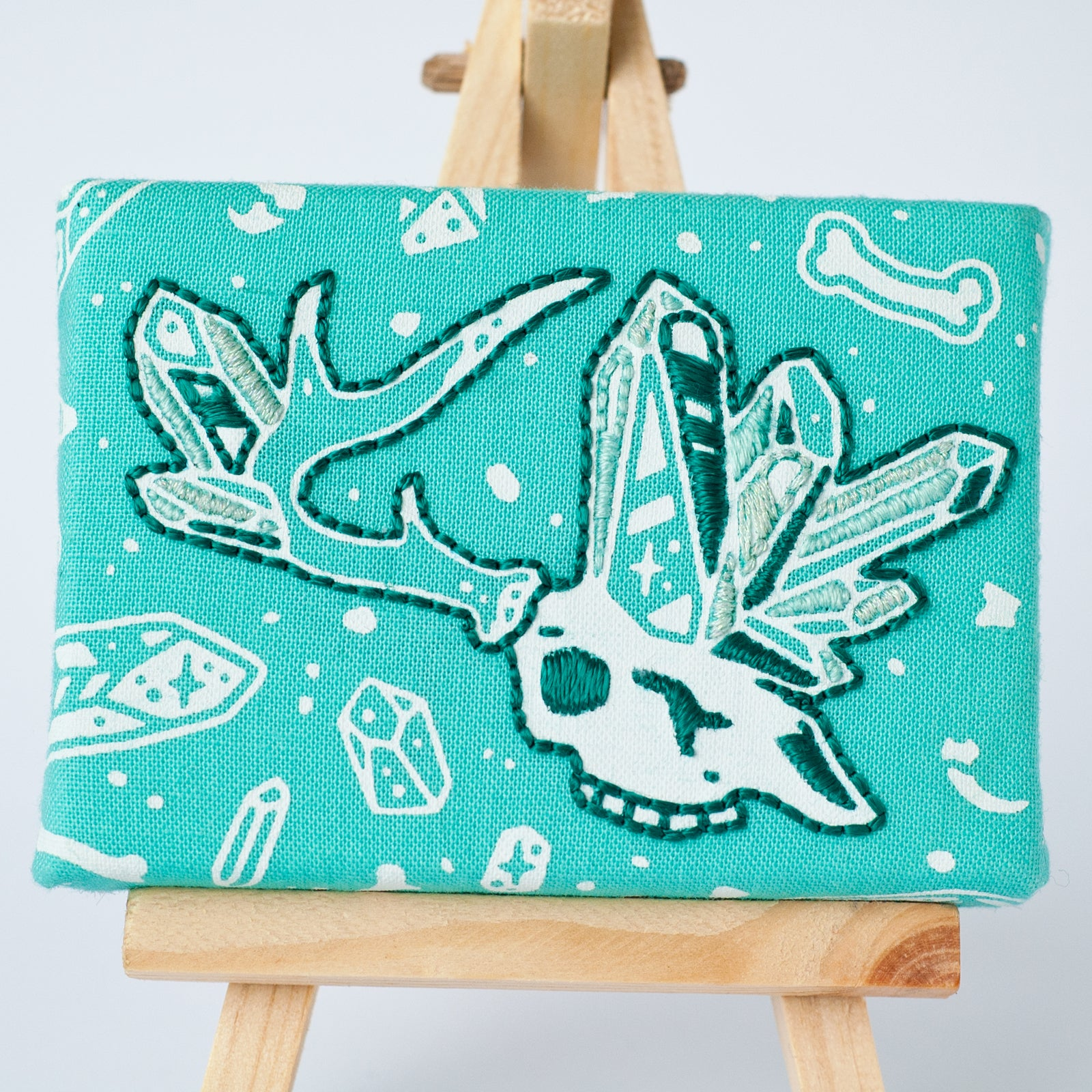 Crystal Deer Skull Embroidery - Teal