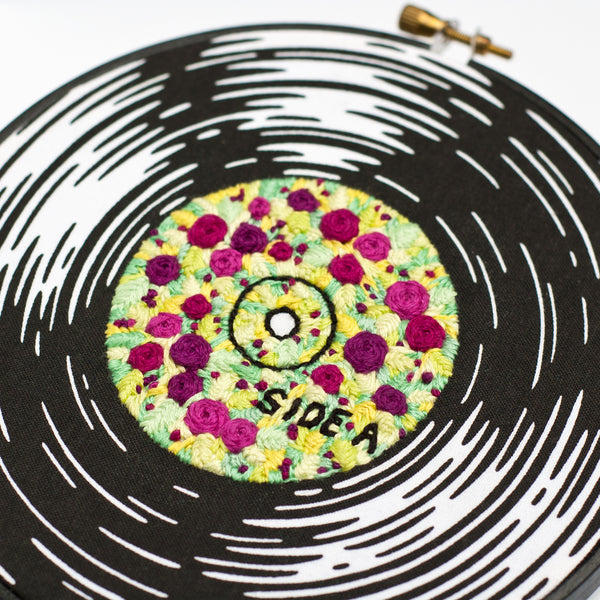 Vinyl Record with Flowers