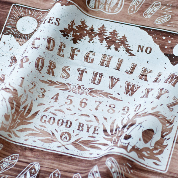 Spirit Talking Board Fabric Print - Wood