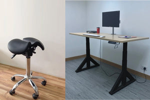 Combo of Dual Motor Electric Sit to Stand Workstation with Ergonomic Adjustable Rolling Active Chair, (DM9+R4008)