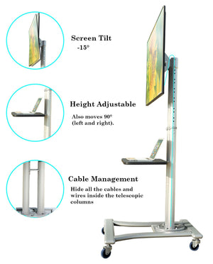 TV Floor Stand on Wheels I Universal Mobile TV Stand with AV Tray! Rolling TV Cart for Screens 32 to 70 Inches (VCTS12)