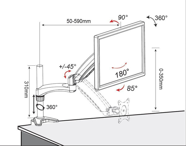 Spring LCD Monitor Stand - Clamp Type (LMS-CT) - S  - 15