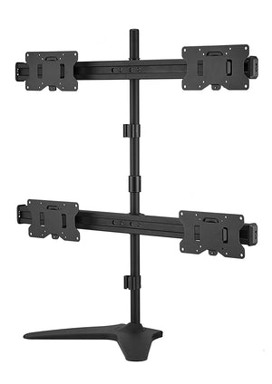 Free Standing Height Adjustable Monitor Mounts for 2, 3, 4 Arms 17 to 29 Inch LCD Screens with Swivel and Tilt, Black (2004MSFP)