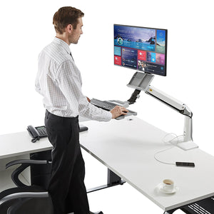 Sit Stand Desk Height Adjustable Standing Desk Workstation for 22''-35'' Monitor Computer Riser Monitor and Keyboard Mounts (2 Year Warranty)
