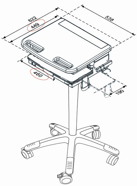 Medical Laptop Cart with lock (HSC01)  - 3