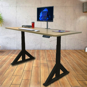 Dual Motor Electric Sit to Stand Workstation, Height Adjustable with Supportive Legs (Black)