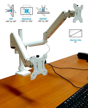 "Full Motion Aluminum Dual Monitor Stand, Articulating Gas Spring Vesa Mount Stand with Heavy Duty C-Clamp Base, Hold Up to 27"" Screens, Up to 17.6 lbs Per Arm, White, Model No (2MSG-W)"