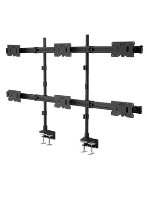 "Hex LED/LCD Monitor Stand, C-Clamp Desk Stand Extra Tall 37.2"" Pole, Heavy Duty Height Adjustable Mount for 6 / Six Screens up to 32 inch, Black (2006MSCT)"