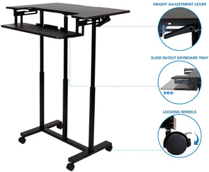 Rife Mobile Standing Desk with Wheels, Rolling Sit Stand Workstation for Desktop Computers and Laptops, 34 Inch Wide with Adjustable Keyboard Tray (MCT05)