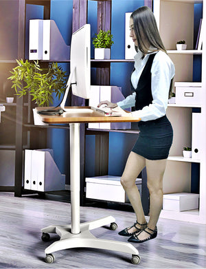 Pneumatic Adjustable Height Laptop Desk, Sit and Stand Mobile Laptop Computer Desk Cart, Ergonomic Design, Excellent Lectern for Classrooms, Offices, and Home, Silver (LPT7)