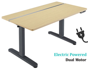 Dual Motor Height Adjustable Electric Standing Desk, Standing Desk Adjustable Height Stand Up Desk Computer Desks with Anti-Collision Protection, Grey (DM8P)