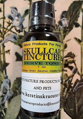 Skullcap Herbal Calming Extract For Pets  ~Multiple Sizes - Kerstin's Nature Products