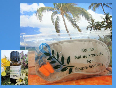 Sleep Mask Night Kit with Ear Plugs and Insomnia Essential Oil - Kerstin's Nature Products