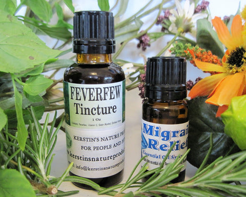 Migraine Relief - Feverfew Tincture & Migraine Relief Oil Blend - Kerstin's Nature Products