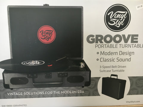 Vinyl Styl Groove Portable Turntable, Graphite