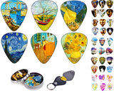 Vincent Van Gogh Guitar Picks Celluloid Medium 12 Pack Complete Set W/ Picks Holder & Tin Box. Starry Night Sun Flowers Limited Time Deal