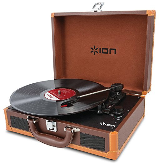 ION Audio Vinyl Motion Deluxe | Portable 3-Speed Belt-Drive Suitcase Turntable with Built-In Speakers (Brown-Leather Styling)