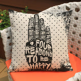 Rock Style Letters Linen Cushion Cover Throw Waist Pillow Case Sofa Home Décor