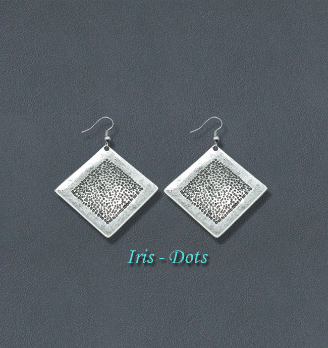 Iris Silver Bohemian Fashion Earrings - Dots