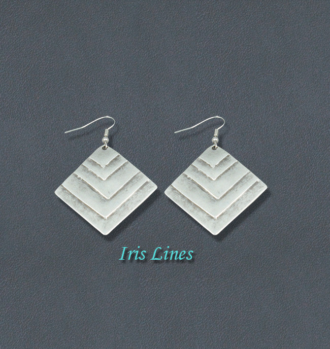 Iris Silver Bohemian Fashion Earrings - Lines