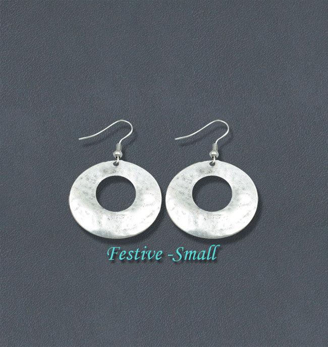 Festive Silver Fashion Bohemian Loop Earrings - Small
