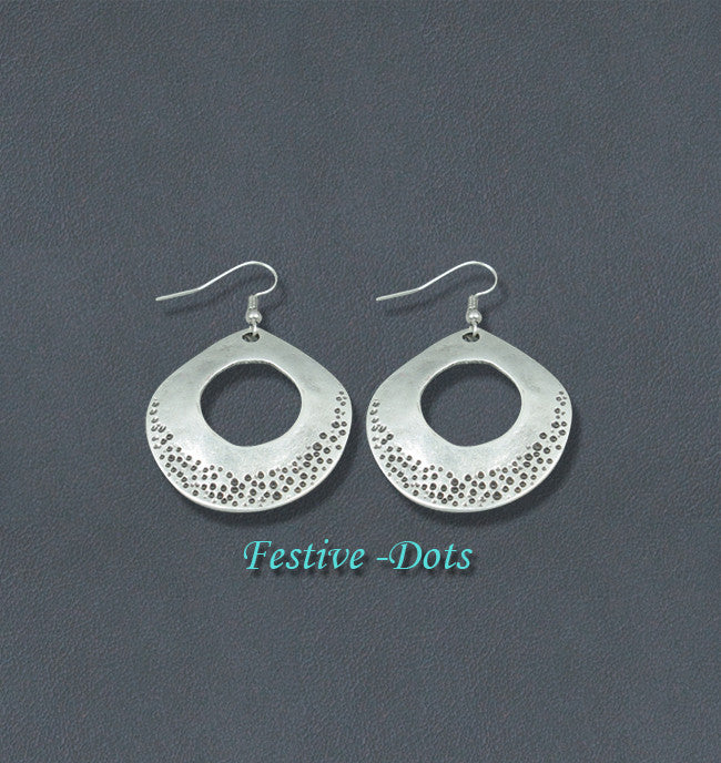 Festive Silver Fashion Bohemian Loop Earrings -Dots