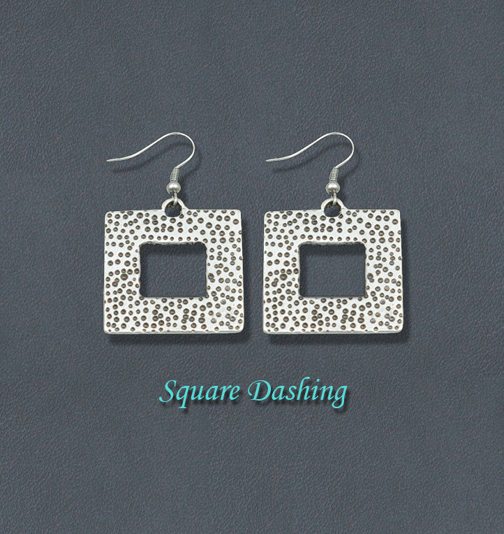 Dashing Bohemian Silver Fashion Earrings - Square