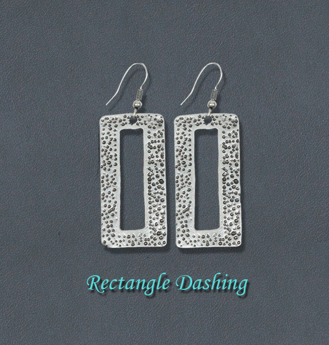 Dashing Bohemian Silver Fashion Earrings - Rectangle