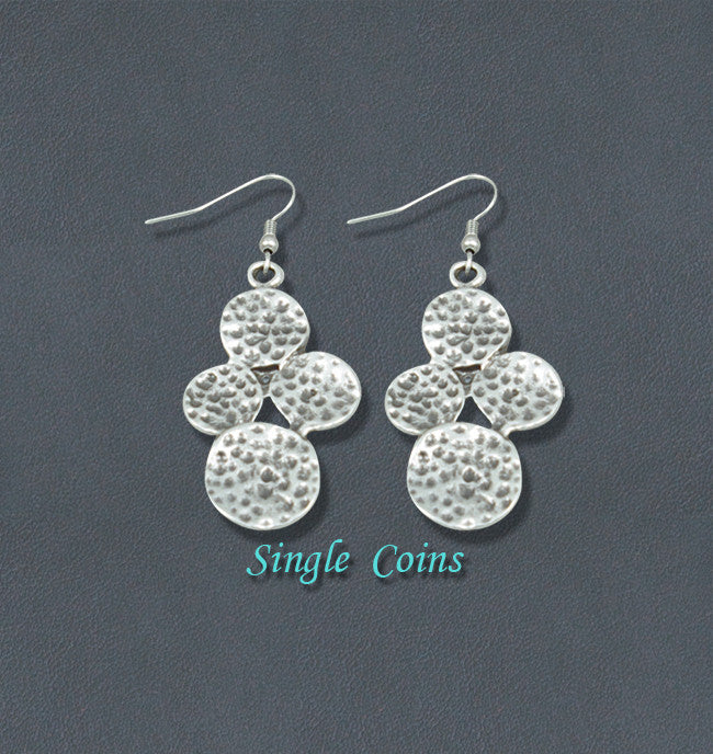 Coins Silver Fashion Bohemian Earrings - Single