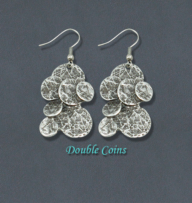 Coins Silver Fashion Bohemian Earrings - Double