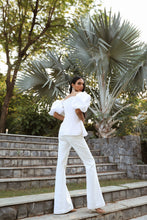 Load image into Gallery viewer, White Plisse Top with Pants Set