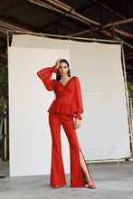 Load image into Gallery viewer, Red Draped Top with Red Pants