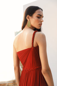 Red and Maroon One Shoulder Draped Gown