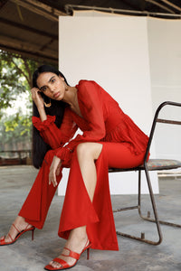 Red Draped Top with Red Pants