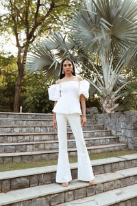 White Plisse Top with Pants Set