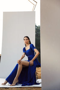 Blue Draped Gown with Tulip Sleeves