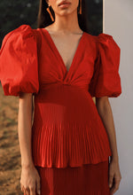 Load image into Gallery viewer, Red Plisse Tiered Dress