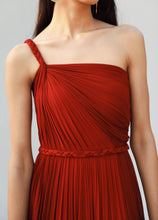 Load image into Gallery viewer, Red and Maroon One Shoulder Draped Gown