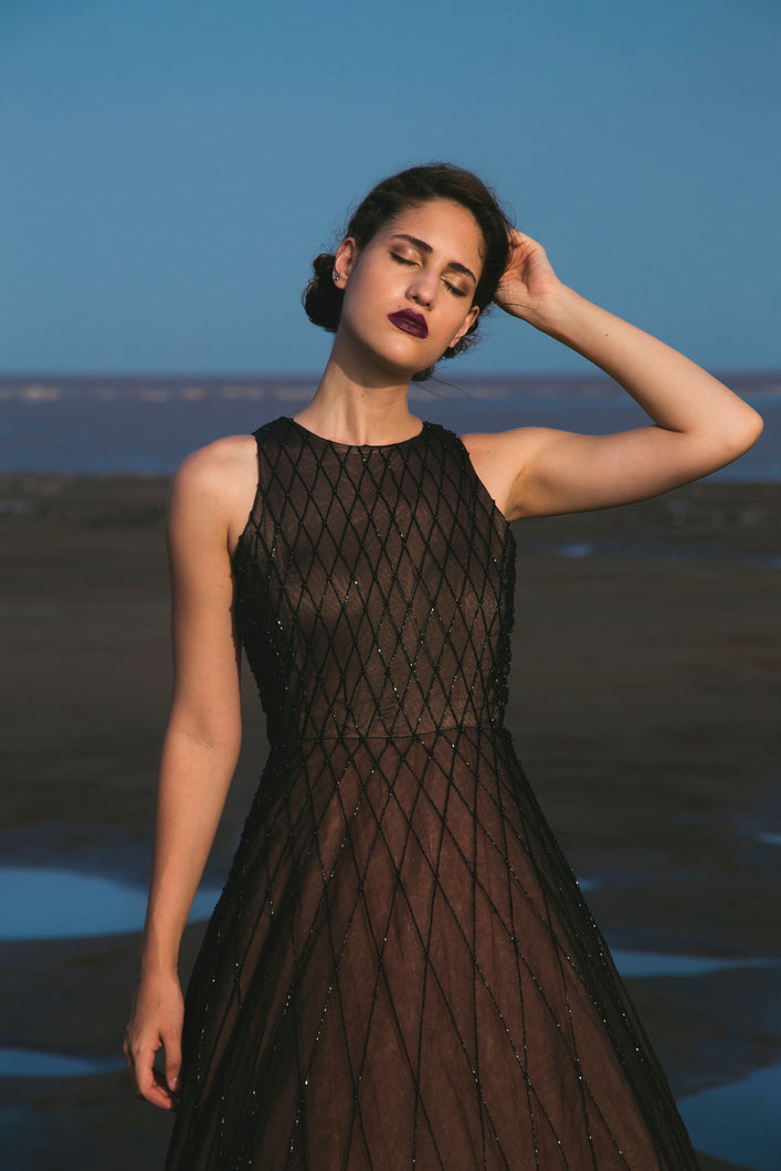 Black Criss Cross Embellished Net Ball Gown