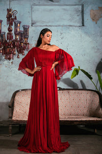 Red Chiffon Pleated Gown with Flared Sleeves and Belt