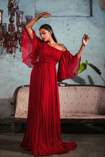 Load image into Gallery viewer, Red Chiffon Pleated Gown with Flared Sleeves and Belt