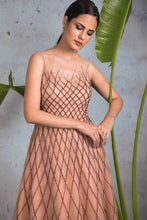 Load image into Gallery viewer, Nude sleeveless fully embellished criss cross net gown