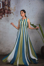 Load image into Gallery viewer, Tricoloured (White, Teal & Green) sleeveless georgette panelled sequin gown