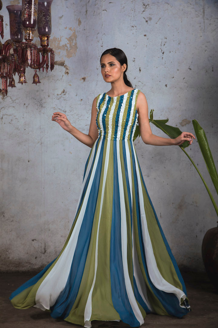Tricoloured (White, Teal & Green) sleeveless georgette panelled sequin gown