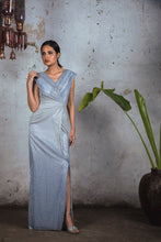 Load image into Gallery viewer, Grey to Blue Ombre Platinoir Drape Gown
